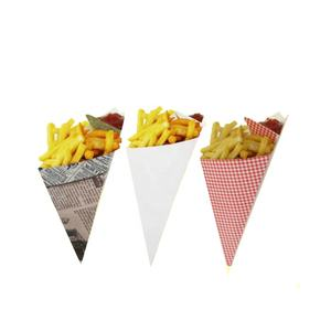 Cone shape french fries box with sauce