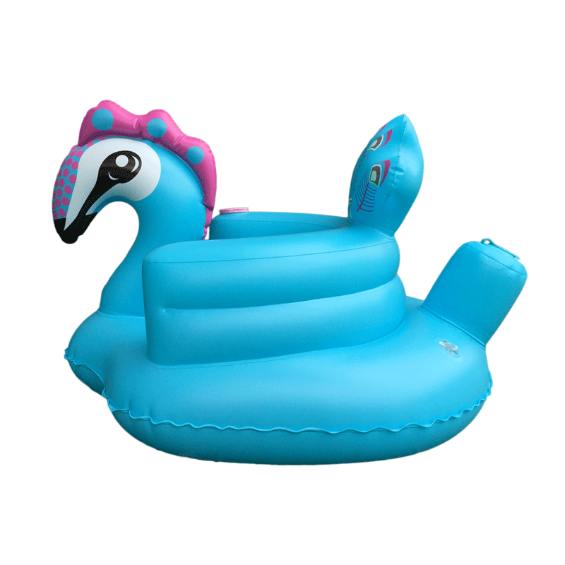 Blue Peacock Inflatable Baby Chair Soft PVC Toddler Bath Sofa