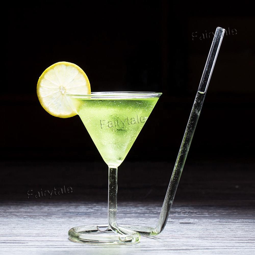 Creativo vampiro taza giratoria molécula vasos de Martini en espiral de paja copa de cóctel