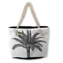 Fabexcel summer custom print tropical palm pineapple high quality rope handle canvas tote beach bag