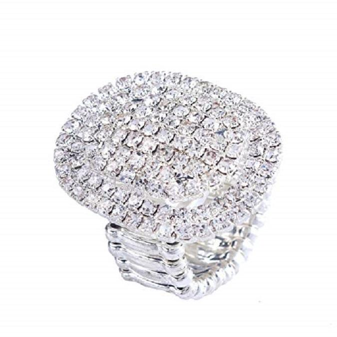 Women Adorable Crystal Rhinestones Oval Design Stretch Fashion Ring Shinning Silver Plated