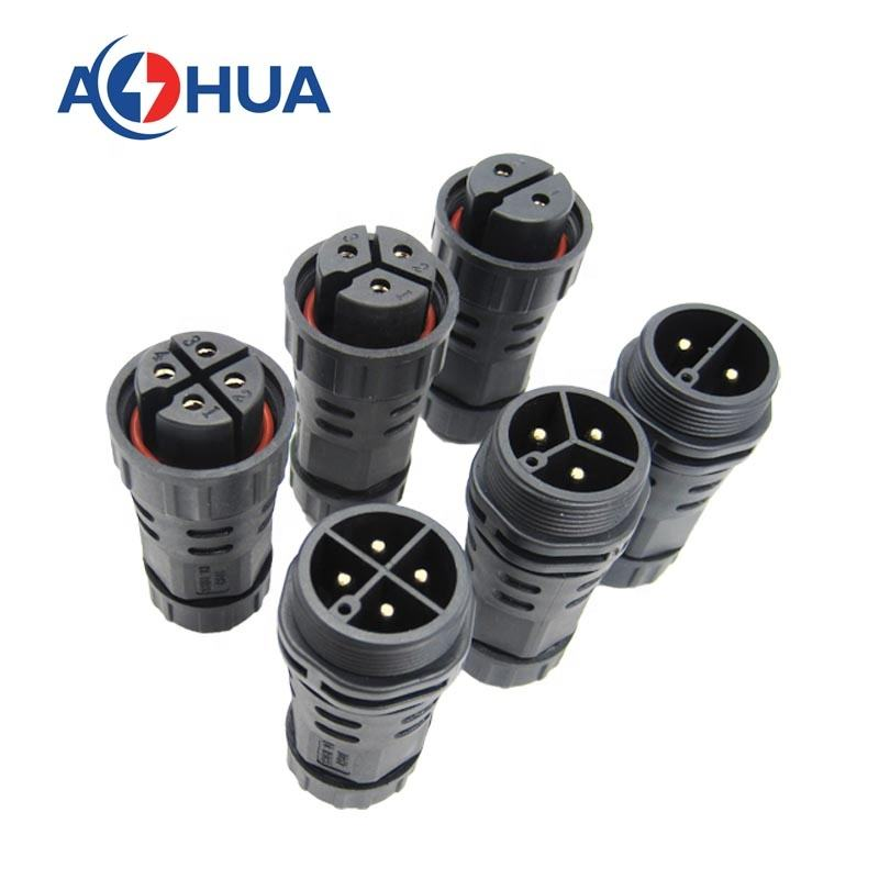Outdoor IP67 power 3 wires waterproof male female connector