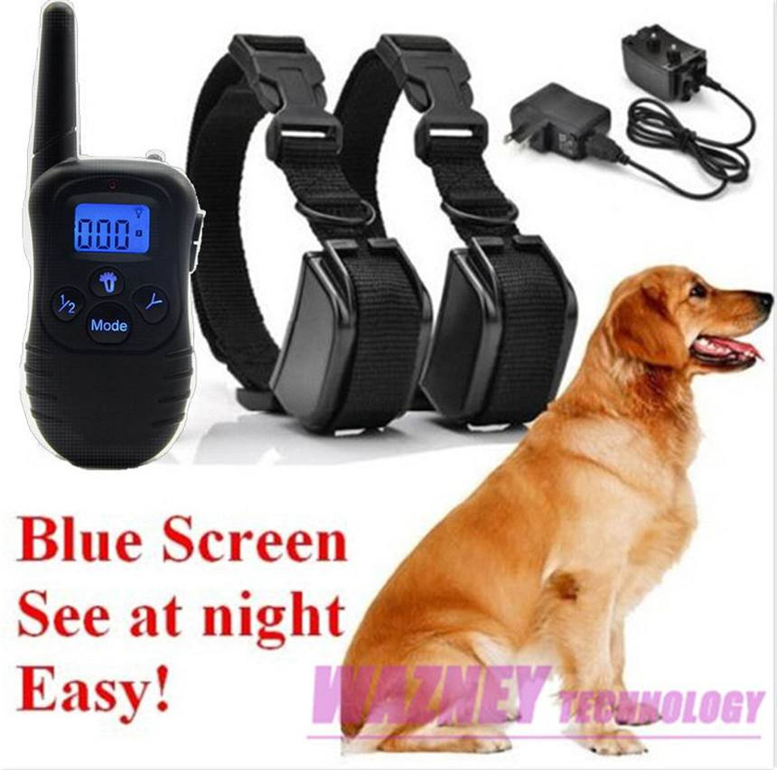 300M 100LV Shock Rechargeable and Waterproof remote Dog Pet Training Collar with LCD Display with blue backlight
