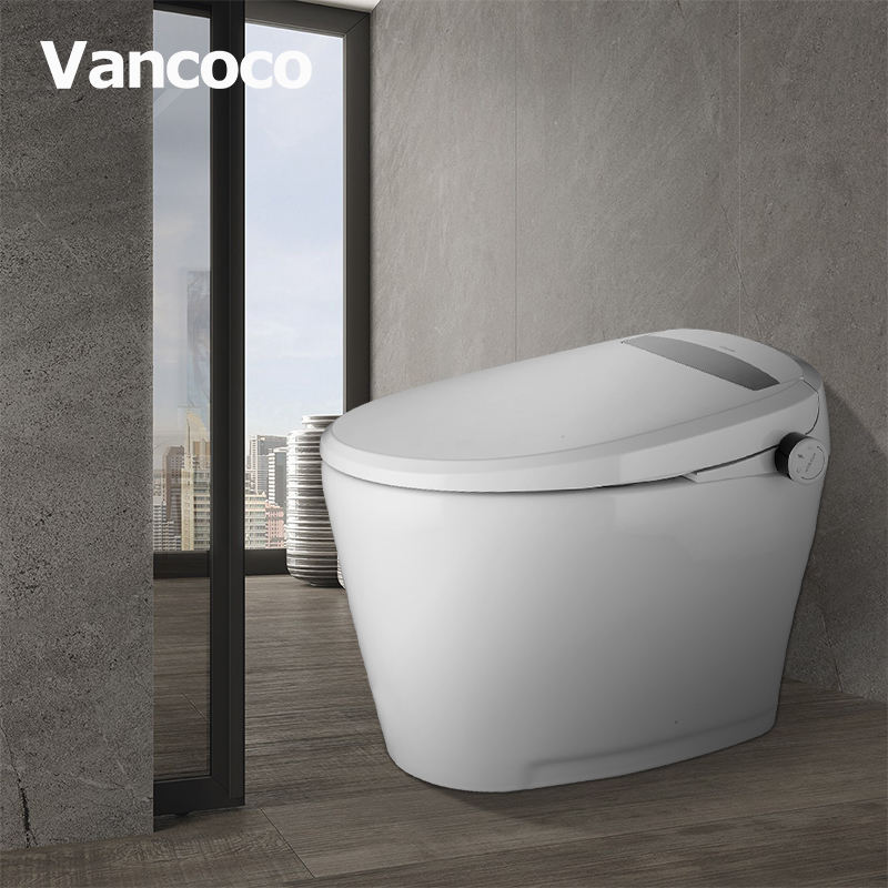 Vancoco Plastic Intelligent Seat Temperature Regulation White Ceramic Attached Bidet Automatic Human Smart Toilet