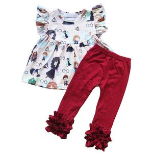 2020top Wholesale girls ruffle outfits boutique cartoon tunic tops and icing leggings unique baby girl images 2pcs clothing set
