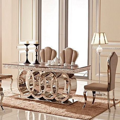 Luxury morden marble top dining table set DH-1405