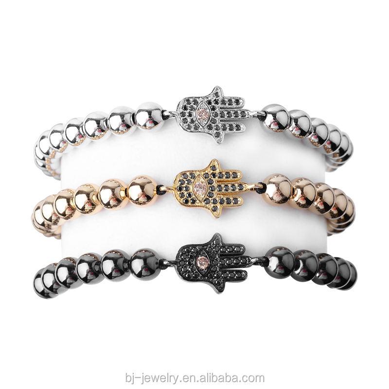 Đen Bạc Zircon Hợp Kim Hạt Handmade Dệt Kim Paracord Bracelet Men Jewelry