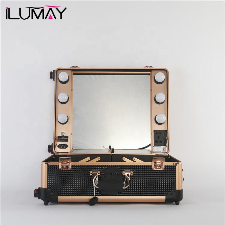 ILUMAY professional LED lighted diamond makeup artist train case