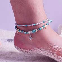 Vintage anklet braided beaded with turtle wholesale custom beach anklet foot chain jewelry