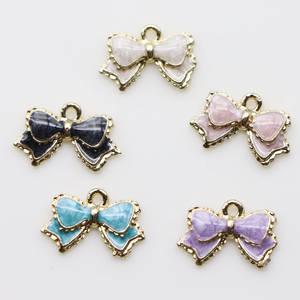 16MM Enamel Bow Knot Charm Pendant Gold Enamel Epoxy Bowknot Drop Zinc Alloy Enamel Charms Pendants Craft Supplies
