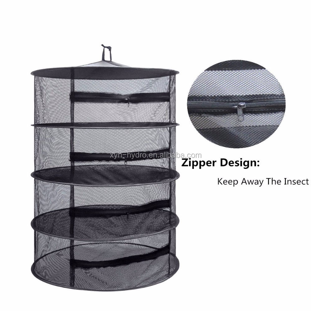 Herb Drying Rack Hanging Dry Net Durable Mesh Collapsible Hanging Dryer with Zipper Net Lights Carrying Case Indoor & Outdoor