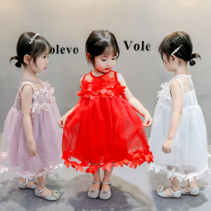 wholesale price summer flower lace baby girls cotton princess dresses newborn pink baby party dress modern