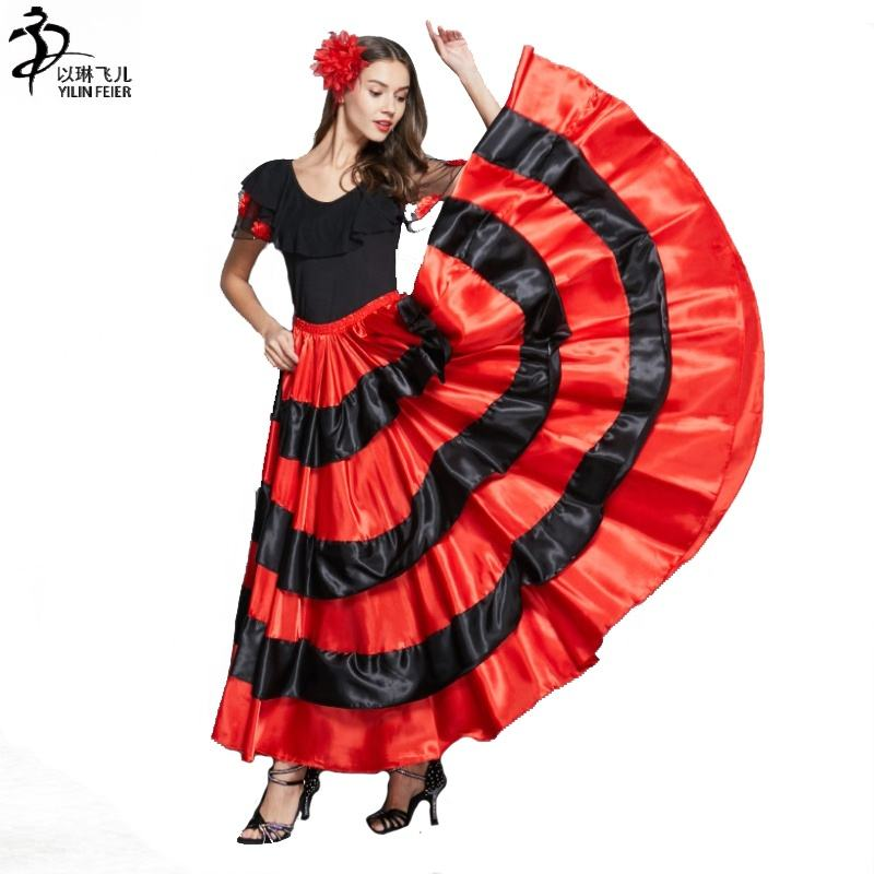 Red Chiffon Full Circle Skirt Veil Belly Dance Costume Flamenco Jupe Maxi Dress