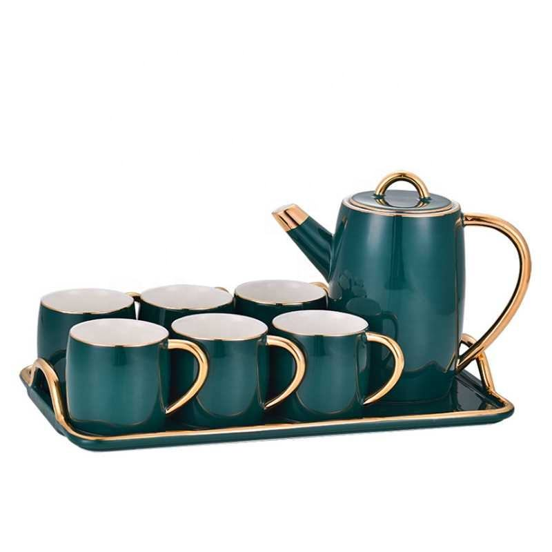 European turquoise color luxury modern coffee tea cup sets tray porcelain tea set with teapot