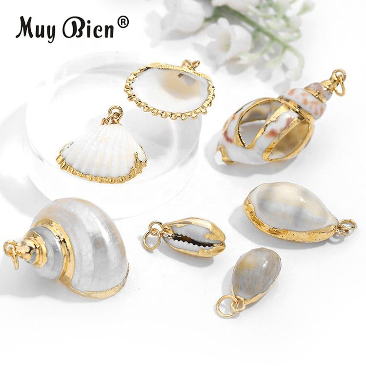 DIY Natural Conch Scallop Gold Charm Jewelry Shell Pendant For Necklace