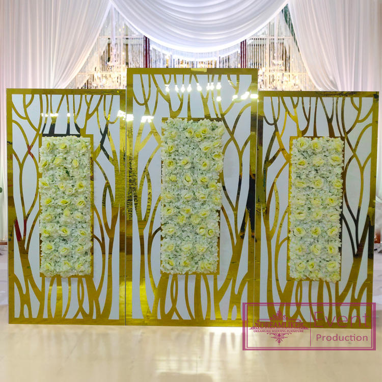 Wedding backdrop wood with acrylic flower back drop for wedding for sale