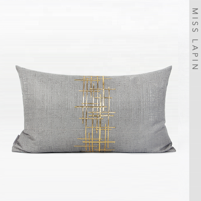 High Repurchase Luxurious Design Lumbar Gray Decorative Cushion Cover