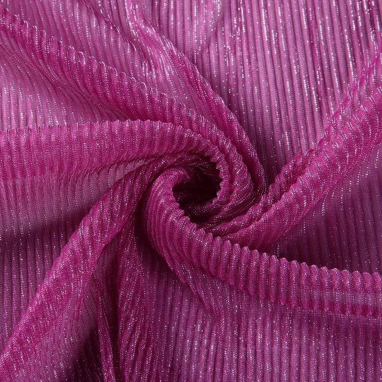 Beautiful textiles purple red crumpling knitted silver metallic fabric pleated for garment luxury