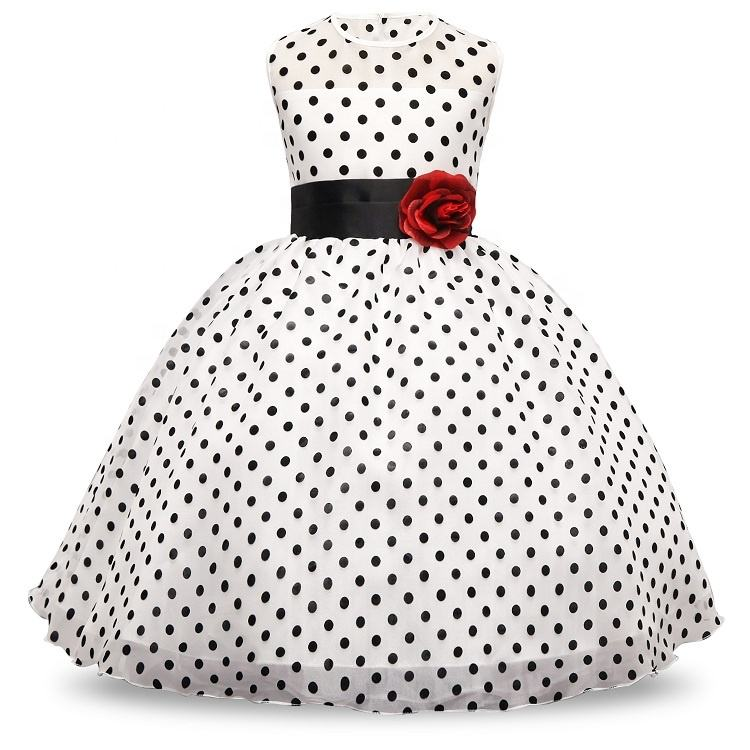 Pabasana kids princess white tulle flower girls polka dot party dress with high quality