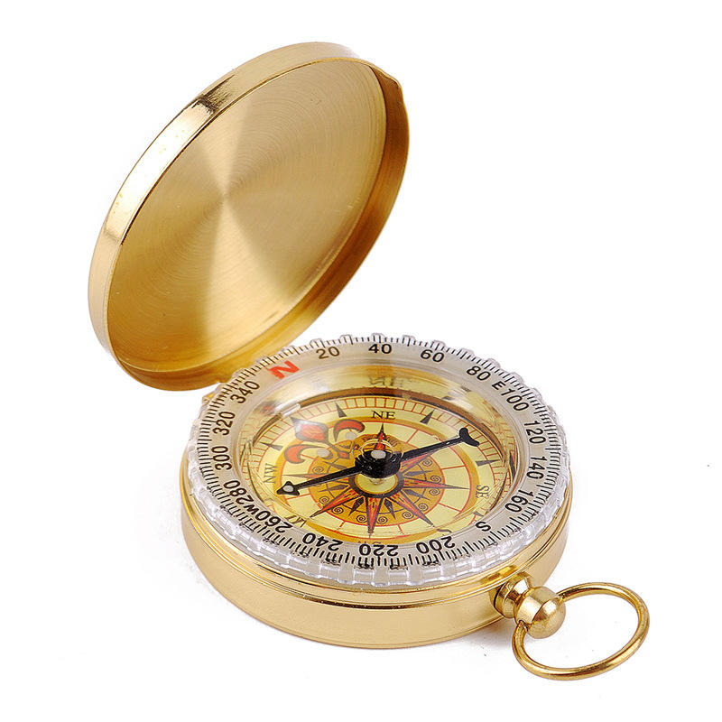 Outdoor High End Multifunctional Mini Golden Hiking Military Brass Compass for Sale