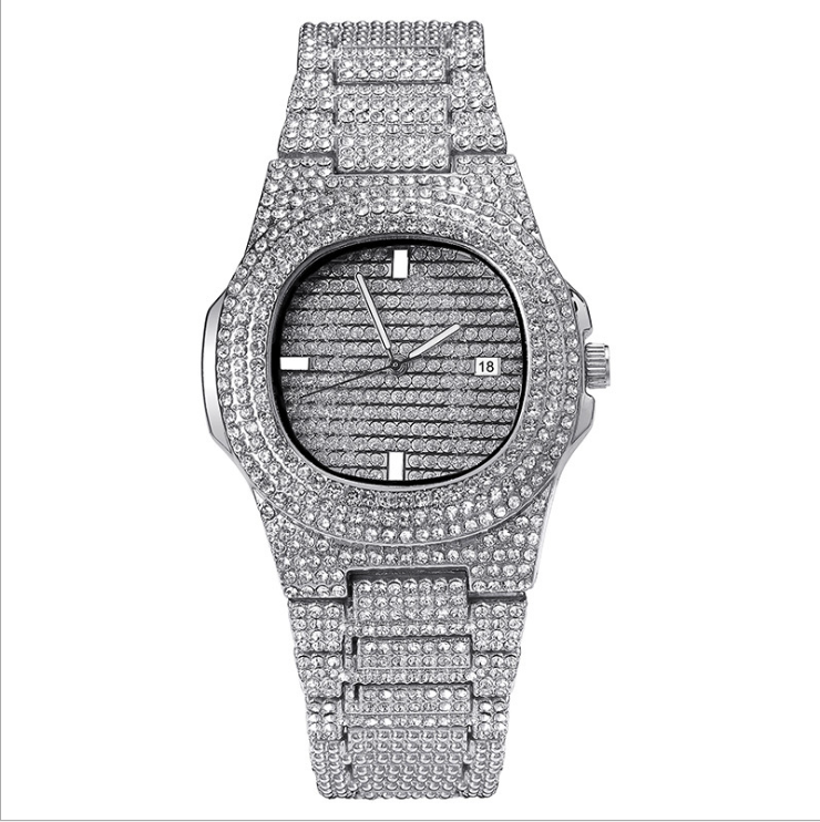 Monili di Bling Pieno Crysta Argento Iced Out Orologio