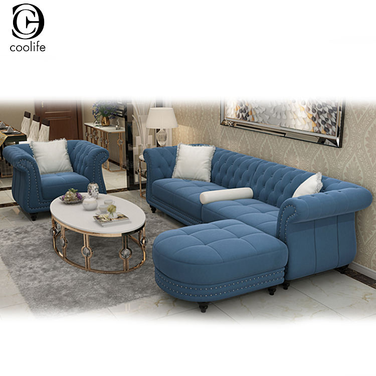Dark Blue Sleeper Chesterfield L Shape Sofa Set Replica