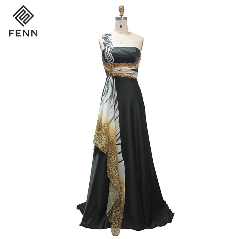 Wholesale Western Tiger Stripes One Shoulder Women Party Wear Long Gown Dress Prom Printed Soft Fabric Women Dress