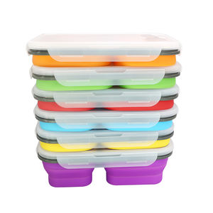 BPA Free Food Grade Leakproof Silicone Collapsible 3 Compartment Bento Lunch Box Folding Silicone Food Container