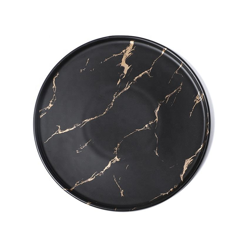 Factory Elegant Western Black Marble Wedding Dinner Porcelain Plates, China Ceramic Dishes with Gold Line