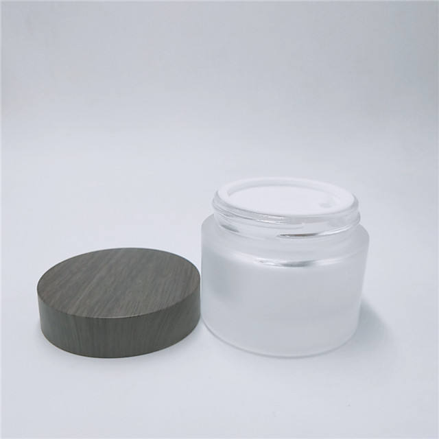 cosmetic packaging 30g 50g Cream clear glass frosted glass jar with bamboo lid
