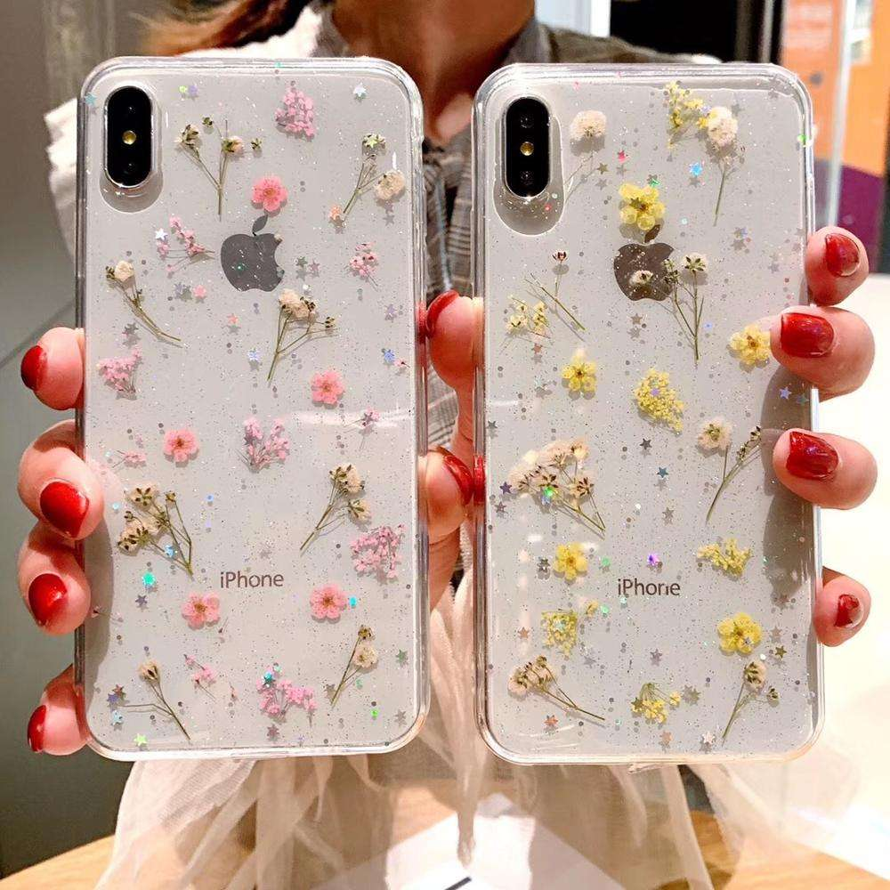 Transparent soft TPU epoxy pressed real flower glitter mobile cell phone case for iphone Xs Max
