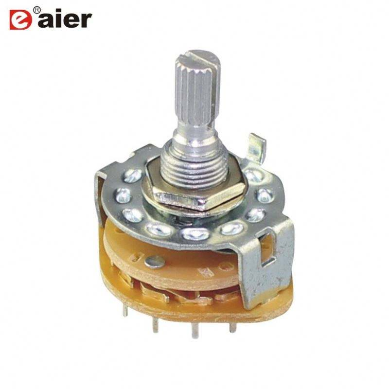 0.5A 6 Pole 2 Position Round Rotary Switch Selector