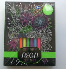 6PCS DIY craft sketching filling secret garden painting coloring drawing book kit with neon pen