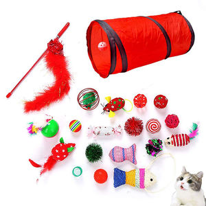 Tunnel Bell Crinkle Balls Feather Wand cat toy pack for puppy kitty