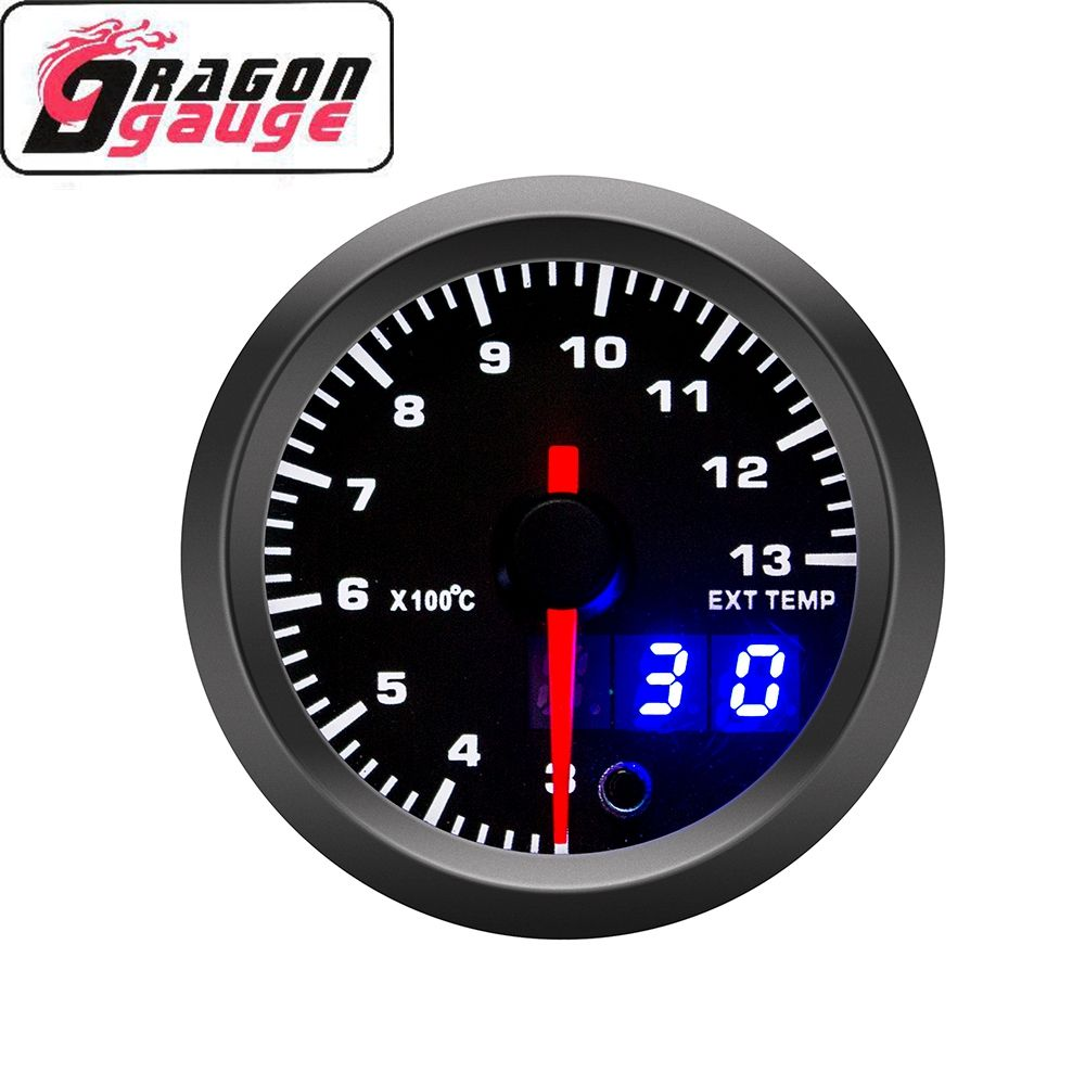 DRAGON GAUGE double Display 52mm Universal 12V Car Modification 3~13*100 Exhaust Temperature Gauge