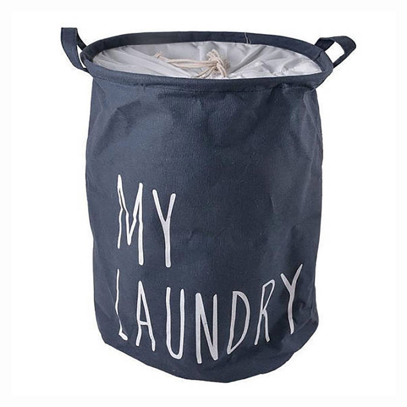Eco Friendly Custom Round Shape Collapsible Folding Tote Cotton Laundry Basket Bag Clothes Storage Hamper with Drawstring