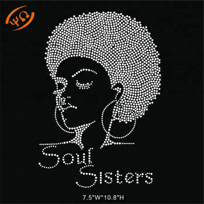 Custom Bling Afro Girl Soul Sisters Hotfix Rhinestones Transfers For Tees