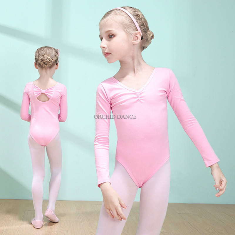 Wholesale High Quality Cheap Kids Girls Cotton Long Sleeve Pink Leotards Ballet