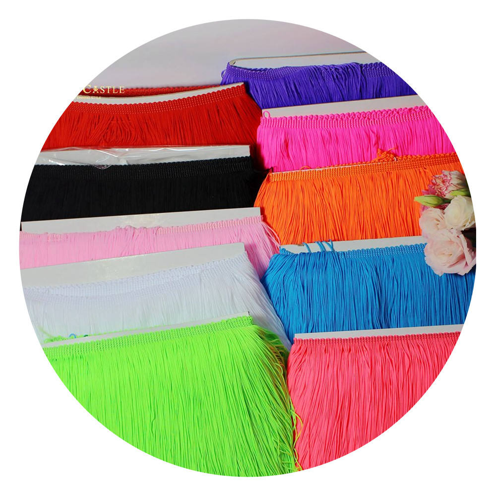 Factory direct price colorful tassel lace trimming 20cm 30cm polyamide long tassel fringe trim for Latin dance costumes