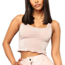 Custom Ladies Sleeveless Square Neckline Tank Crop Tops
