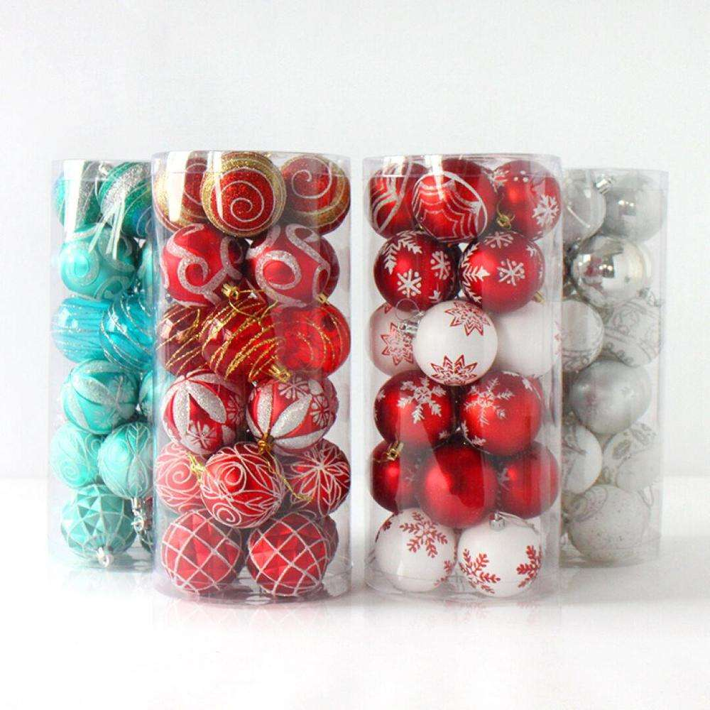 Shatterproof Plastic Christmas Ball Printed Ornaments Hanging Holiday Pendant Decoration