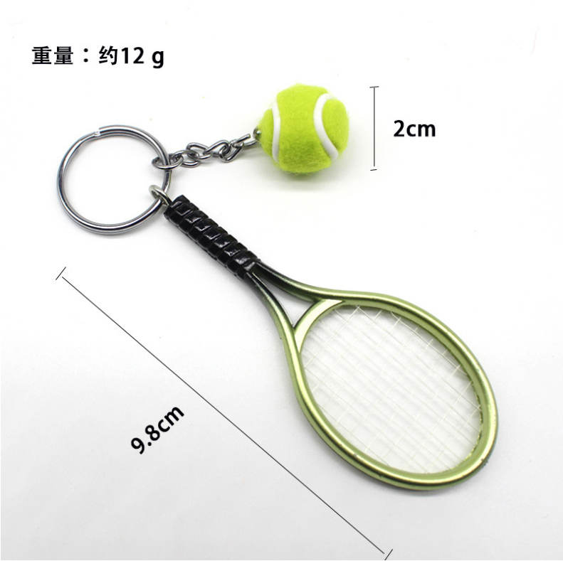 High quality Creative gift tennis racket shape keychain Plastic Simulation tennis racket key chain