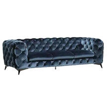 Velvet Fabric Sofa Chesterfield Lounge Sofa With Diamond Button In Living Room