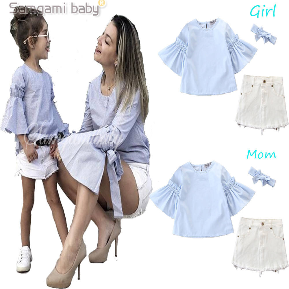 Summer Mommy And Me Outfits Flare Tops White Skirt Family Girls Clothing Set