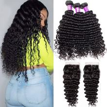 10A Deep Wave Curly Human Hair 3 Bundles with 4x4 Lace Closure Raw Brazilian Virgin Hair Mink Cuticle Aligned Human Hair Vendors