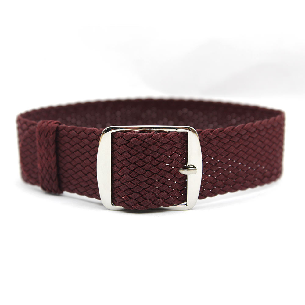 Simple Universal Watch Band Replacement Woven One Piece Burgundy Perlon Watch Strap