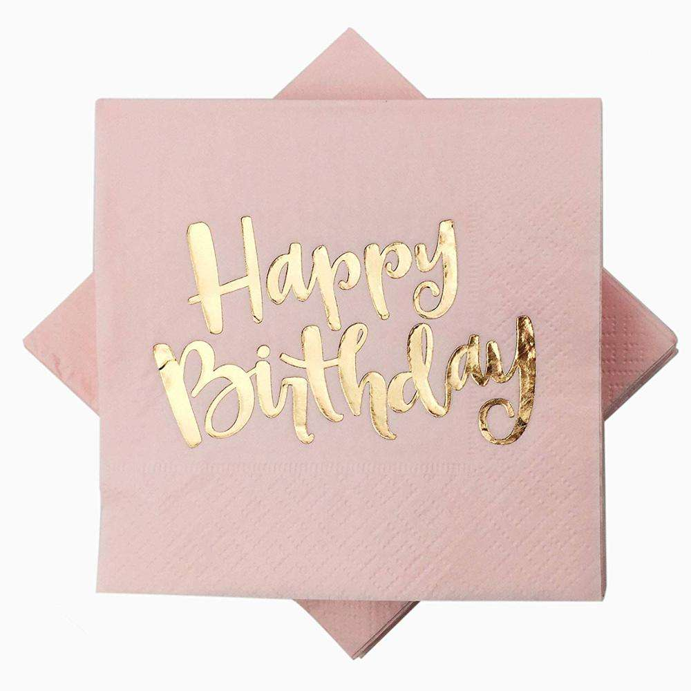 100 Count Happy Birthday Napkins 3 Ply Pink Napkin with Metallic Gold Foil for Dinner Celebration Party Favor Supplies
