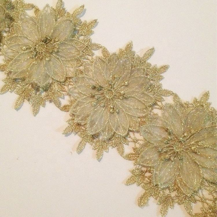Water Soluble Gold Organza embroidery 3D Lace flower Trim for Clothing decoration