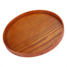 Fruit Dessert Cake Snack Wood Round Serving Tea Tray