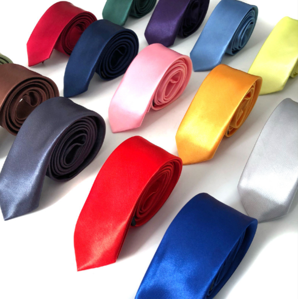 Cheapest Handmade Multi Color Men's custom logo neck tie Solid Color Shiny Silk Promotional necktie
